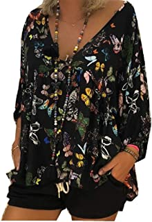 Howely Women's Loose Pleats Print Flare V-Neck 3/4 Sleeve Blouse Shirts