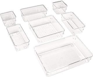 Puricon 7 uds. Organizadores Transparentes para Cajones, Cajas Plásticas de Almacenamiento, Bandejas de Maquillaje Papelería Cubiertos para Dormitorio Vestidor Cuarto de Baño Cocina Oficina Escritorio