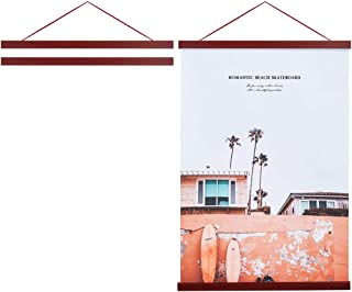 "Best Artmag Magneitc Poster Hanger Frame, 18x24 18x12 18x28 Light Wood Wooden Magnet Canvas Artwork Print Dowel Poster Hangers Frames Hanging Kit (Mahogany, 18"") Review"