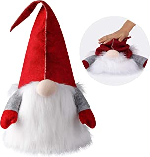 D-FantiX Handmade Swedish Tomte Gnomes, Large Santa Scandinavian Gnome Christmas Tree Topper Hat Spring Tomte Plush Elf Toy Table Ornament Christmas Decorations Home Décor 25 Inch Red