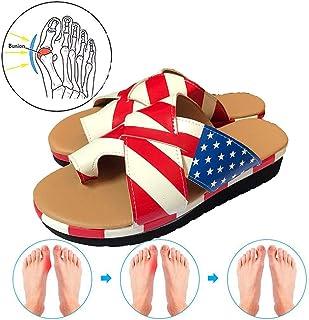 Women's Flat Sandals Comfortable Wedge Heel Open Toe Flip Flops Big Toe Bunion Corrective Sandals Summer Beach Travel Walking Shoes 35-43,C,35