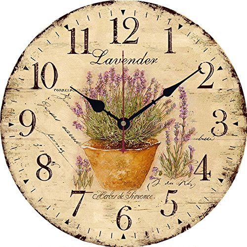 Wall Clock 12 inch Non-Ticking Silent Wall Clock Battery Operated Wall Decor for Kids Kitchen Bedroom Living Room [No Cover] (Lavender)