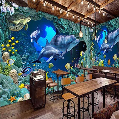 Gwgdjk Foto Hd Blue Submarine World DolphinThemenrestaurant P Wandmalerei Kinderbett 3D Paisage-350X250Cm (140 * 100Inch)