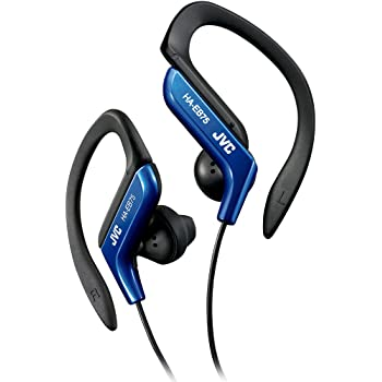 JVC Clip Style Headphone Blue and White Lightweight and Comfortable Ear Clip. Splash Proof Water resistant Powerful Sound with Bass Boost HAEB75A