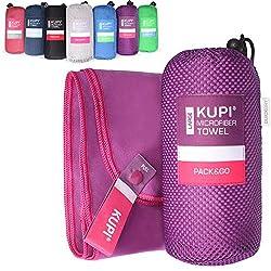 Microfibre towel set SML XL XXL travel towel set towels slightly absorbent and antibacterial - sports towel fitness - sauna bath towel beach towel quick-drying (purple, 50x30cm - without bag)