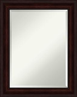Amanti Art Framed Vanity Mirror | Bathroom Mirrors for Wall | Coffee Bean Brown Mirror | Wall Mounted Mirror | Medium Mirror | 29.12 x 23.12 in.