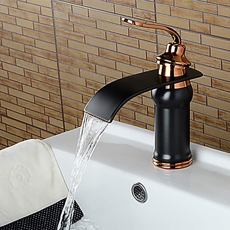 Durable Modern Creative Black Bathroom Sink Faucet Waterfall Oil Rub Bronze Extensive Single Handle One Tap Brass practical