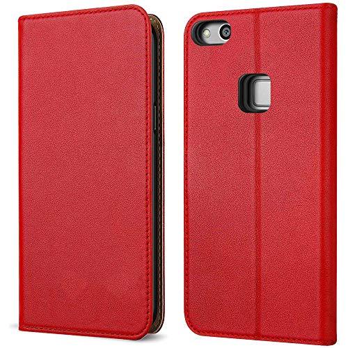 FDTCYDS Etui Huawei P9 Lite, Coque Huawei P9 Lite Pochette Portefeuille en Cuir Véritable Coque de Protection pour Housse Huawe P9 Lite avec Fonction Stand – Red/Rouge