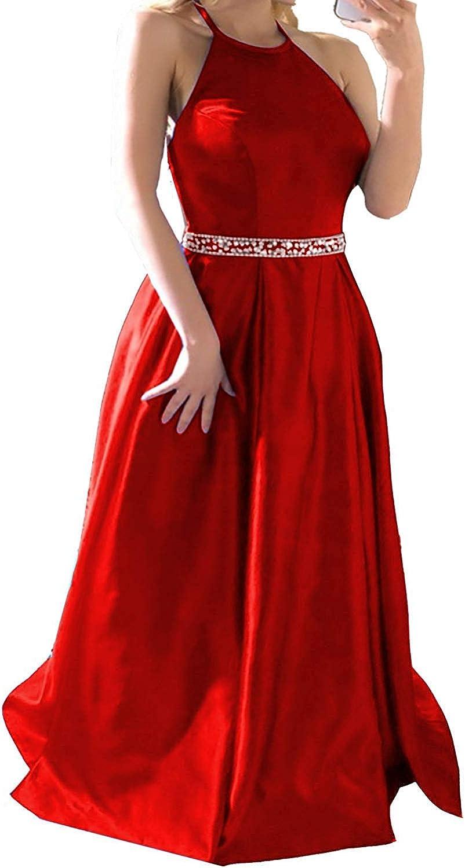 Sophie Women's Halter Prom Dresses Plus Size Long 2019 Satin Evening Formal Dress Aline Sleeveless Q08