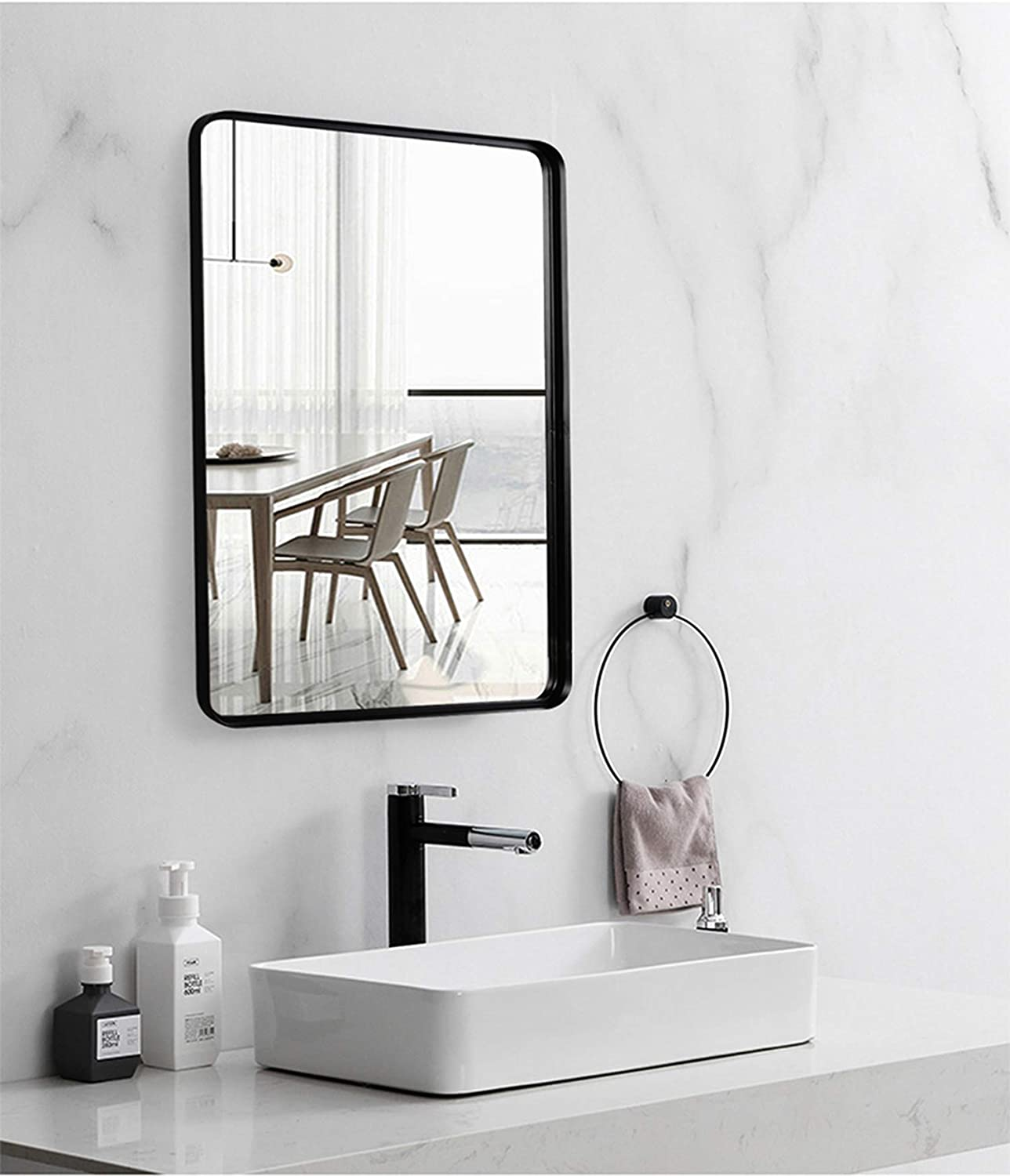 Buy Black Wall Framed Rectangular Mirrors For Bathrooms 22x30 Large Rectangle Mirror With Brushed Glass Panel Modern Home Entryway Decor Mirror With Corner Deep Design Hangs Horizontal Or Vertical Online In Poland