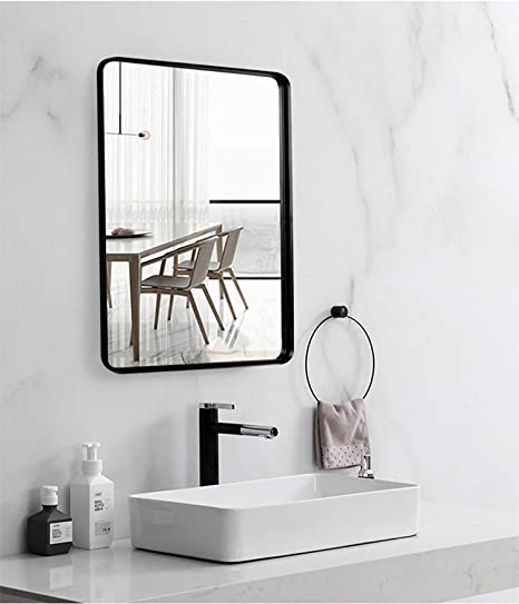 Amazon Com Black Wall Framed Rectangular Mirrors For Bathrooms 22 X30 Large Rectangle Mirror With Brushed Glass Panel Modern Home Entryway Decor Mirror With Corner Deep Design Hangs Horizontal Or Vertical Everything Else