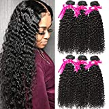 Flady Brazilian Kinkys Curly Hair Bundles 16 18 20inch 10A Unprocessed Virgin Brazilian Hair Sexy Curly Weave Human Hair Natural Black Color
