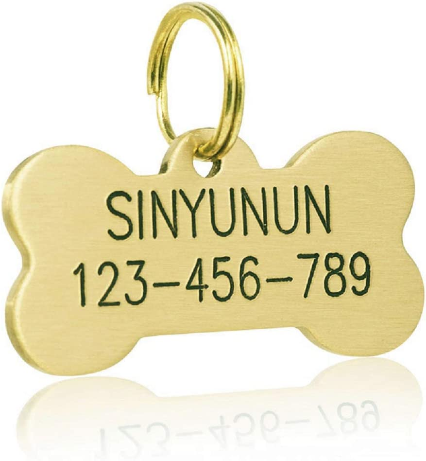 SINYUDUN Brass Pet ID Tags Golden and Cat Max Now on sale 54% OFF Personalized Dog