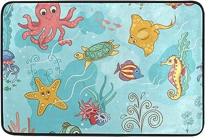 Mydaily Cute Sea Animals Doormat 15.7 x 23.6 inch, Living Room Bedroom Kitchen Bathroom Decorative Lightweight Foam Printed Rug