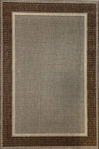 Modern Style Rugs Flatweave Border Design Very Hardwearing - Indoor or Outdoor Rug Patio/Living Room/Dining Room Use - (Brown, 200x290cm)