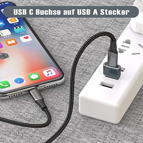 USB C Buchse auf USB Stecker Adapter 3-Stück,Typ C auf A Ladekabel Adapter für iPhone 11 12 Mini Pro Max,Airpods iPad 8 Air 4,Samsung Galaxy Note 10 20 S20 FE Plus,S21 21 Ultra A71 A90 5G,Google Pixel