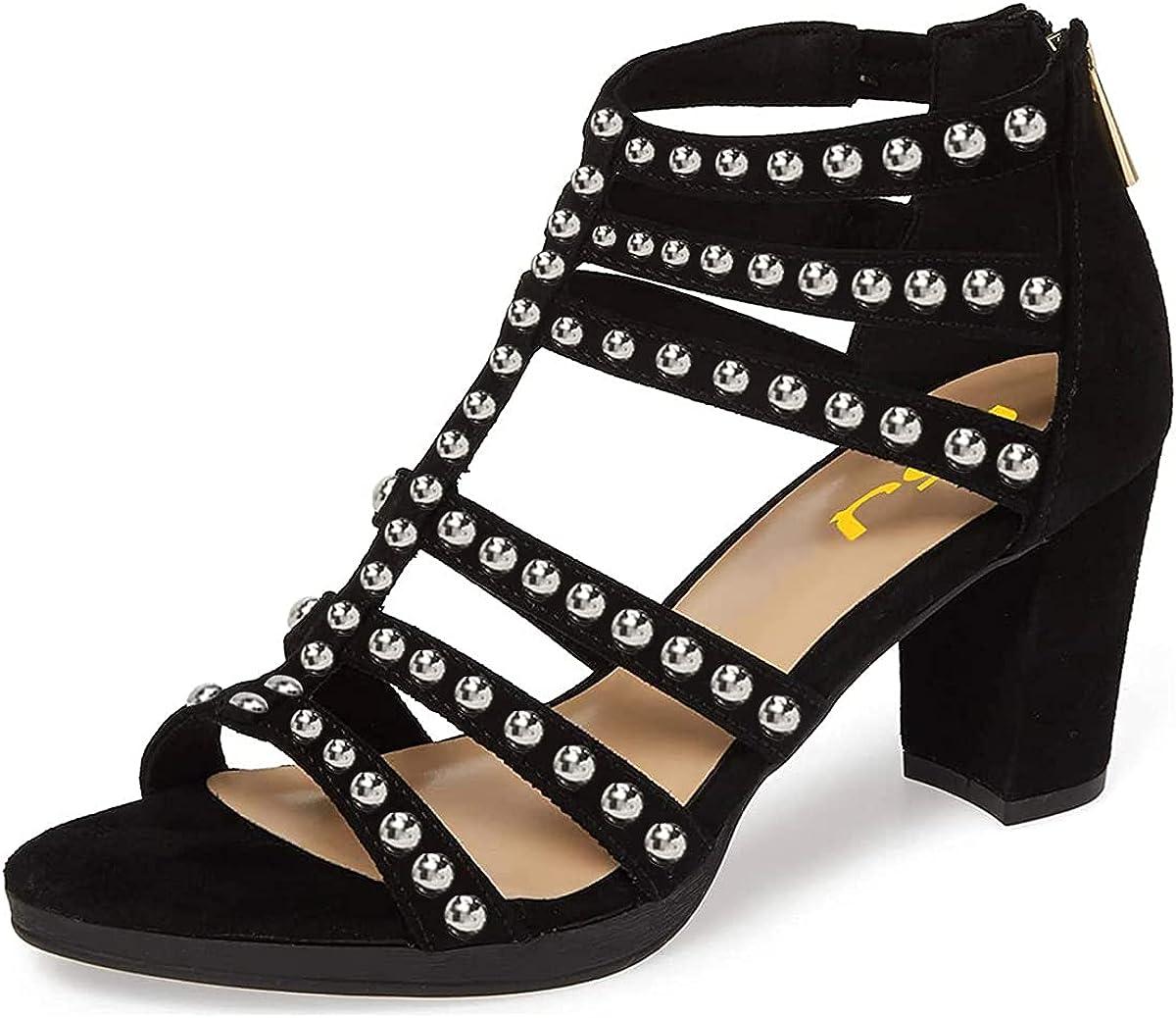 FSJ Women Chunky Mid Popular overseas High Heel Open Toe T-Strap Cu 100% quality warranty! Pumps Sandals