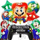 Globos de papel de aluminio de Mario Bros - PAWT Super Mario Decoración de fiesta de cumpleaños Juego de globos de papel de aluminio para fiesta de Mario Decoración 9 piezas