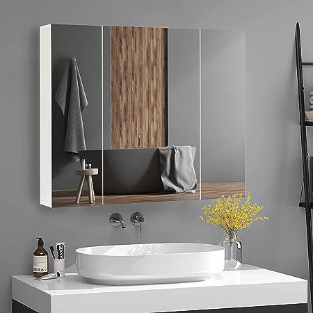 DICTAC Armoire de Toilette Miroir, Rangement Toilette, avec 3 Portes, 3 Niveaux, Étagères à Hauteur Réglable, 70 x 60 x 15 cm, Blanc
