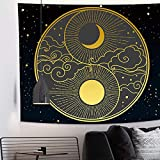 Tapiz de sol y luna Tapiz de Tai Chi Nube propicia Tapiz de Yin Yang Mandala celestial Tapiz de arte de pared psicodélico popular para dormitorio Sala de estar Arte de Decoración del hogar(150x130cm)