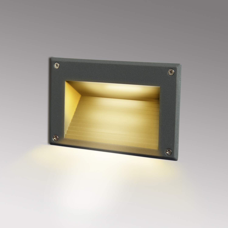 Topmo-plus luz del piso/Lámpara empotrable de vestíbulo Escalera al aire libre Iluminación de caminos / 3W Osram SMD luz hacia abajo Exterior Interior IP65 Escalera/vestíbulo/caminos 162 MM gris: Amazon.es: Iluminación