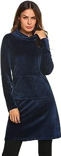 Ekouaer Women's Long Sleeve Plush Nightgown Flannel Sleepwear Knee Length Pullover Loungewear