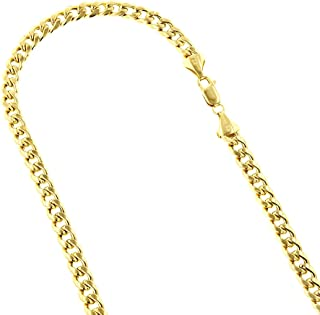 IcedTime 10K Yellow Gold 8mm & 9mm wide Hollow Miami Cuban Link Chain Necklace,Bracelet Lobster Clasp