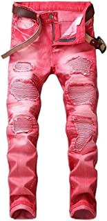 Men's Patchwork Slim Straight Fit Biker Jeans Fashion Moto Denim Pants