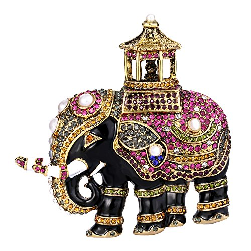 EVER FAITH österreichischen Kristall Simulated Pearl Adorable Emaille Elephant Tier Brosche bunt Antique Gold-Ton