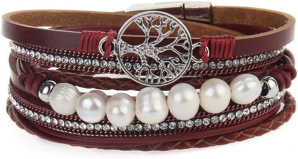 LIANCHI Tree of Life Leather Bracelet Rope Wrap Pearl Cuff Wrist