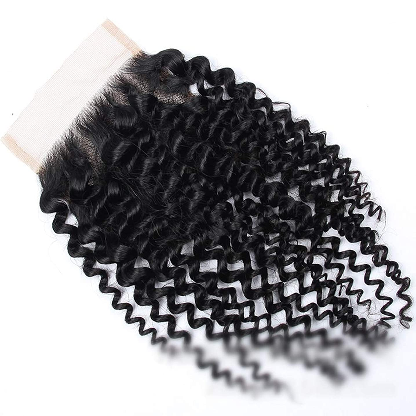 反対した周術期凝縮するかつら ブラジルのジェリーカーリー4×4レースクロージャーフリーパーツ人間の髪の毛の閉鎖ナチュラルカラー8インチ-20インチショートカーリーウィッグ (色 : 黒, サイズ : 10 inch)