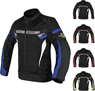 ALPHA CYCLE GEAR BREATHABLE BIKERS RIDING PROTECTION MOTORCYCLE JACKET MESH CE ARMORED (BLUE MOON, XX-LARGE)