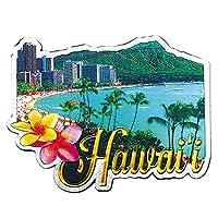 ハワイアン フォイルマグネット 「ワイキキビーチとダイアモンドヘッド Hawaii」 /ハワイのお土産/ハワイアン雑貨/