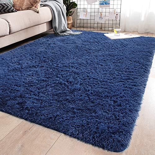 YJ.GWL Soft Shaggy Area Rugs for Girls Room Bedroom Non-Slip Kids Carpet Baby Nursery Decor Fluffy Modern Rug 4 x 5.3 Feet Indigo