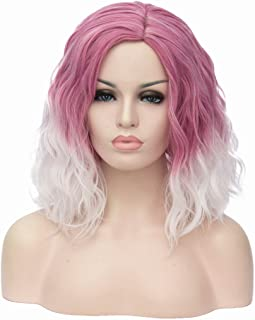 Mildiso Short Pink White Wigs for Women Curly Wavy Synthetic Hair Cosplay Halloween Wigs with Wig Cap (Pink/White) M004
