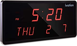 Ivation Big Oversized Digital Blue LED Calendar Clock with Day and Date - Shelf or Wall Mount(16 inches - Red LED)