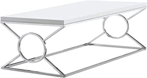Monarch Specialties Coffee Table - Glossy White withChrome Metal