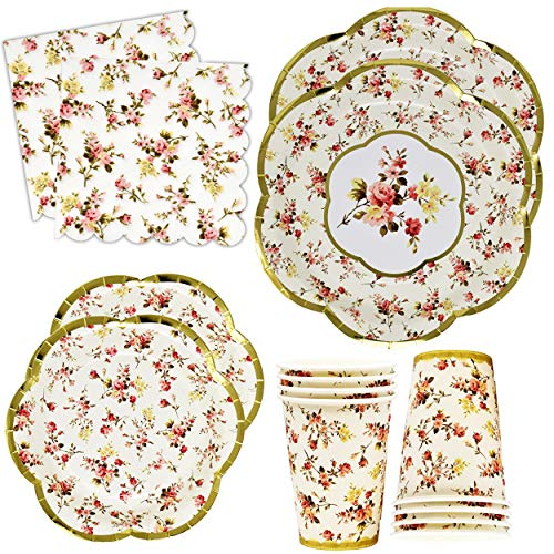 Gold Foil Vintage Floral Party Supplies Set Scalloped Edge 24 9