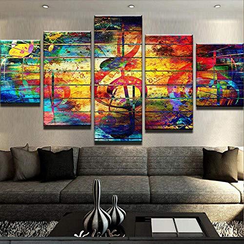 Wandbild Hintergrund Moderne Leinwand Wandkunst Bilder Wohnkultur 5 Panels Musical Piano Notes Malerei Modulare Poster-Frame_40X60CMx2_40X80CMx2_40X100CMx1