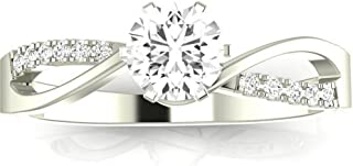 0.83 Ctw 14K White Gold Elegant Twisting Split Shank Engagement Ring w/Round 0.75 Carat Moissanite Center
