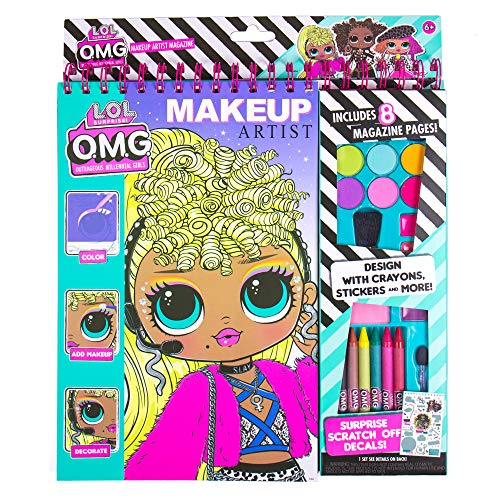 LOL OMG Make-Up Artist Magazine by Horizon Group USA. DIY Craft Kit, Design with Crayons, Stickers & More.Create Fashionable Looks Using Over 130 Stencil Designs & 200 Stickers