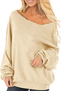 Auxo Womens Off The Shoulder Tops Baggy Shirt Long Sleeve Blouse Oversized Sweater Jumper Pullover