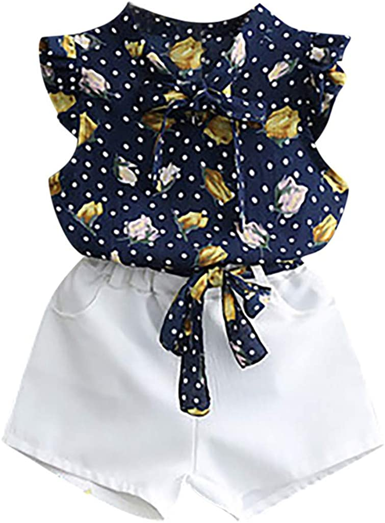 Toddler Kids Baby Girls Outfits Clothes T-Shirt Vest Tops+Shorts Pants 2PCS Set WOCACHI Toddler Baby Girls Clothes