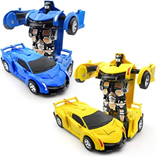 WOCY Toy Cars for Kids Vehicles 2-Packs 1-Step Deformation Car Robot Deformation Car Model Toy for Children, Kids and Toddlers,Crash to Transform (Blue and Yellow)