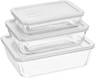 Pyrex Rectangular Food Storage, White, (6 Pack)