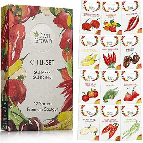 Chili Samen Set mit 12 Sorten Chilisamen für Garten und Balkon: Premium Chilisortiment – Bunte und alte Chili Pflanzen von OwnGrown – Praktisches Chili Set mit milden und scharfen Chilli Pflanzen