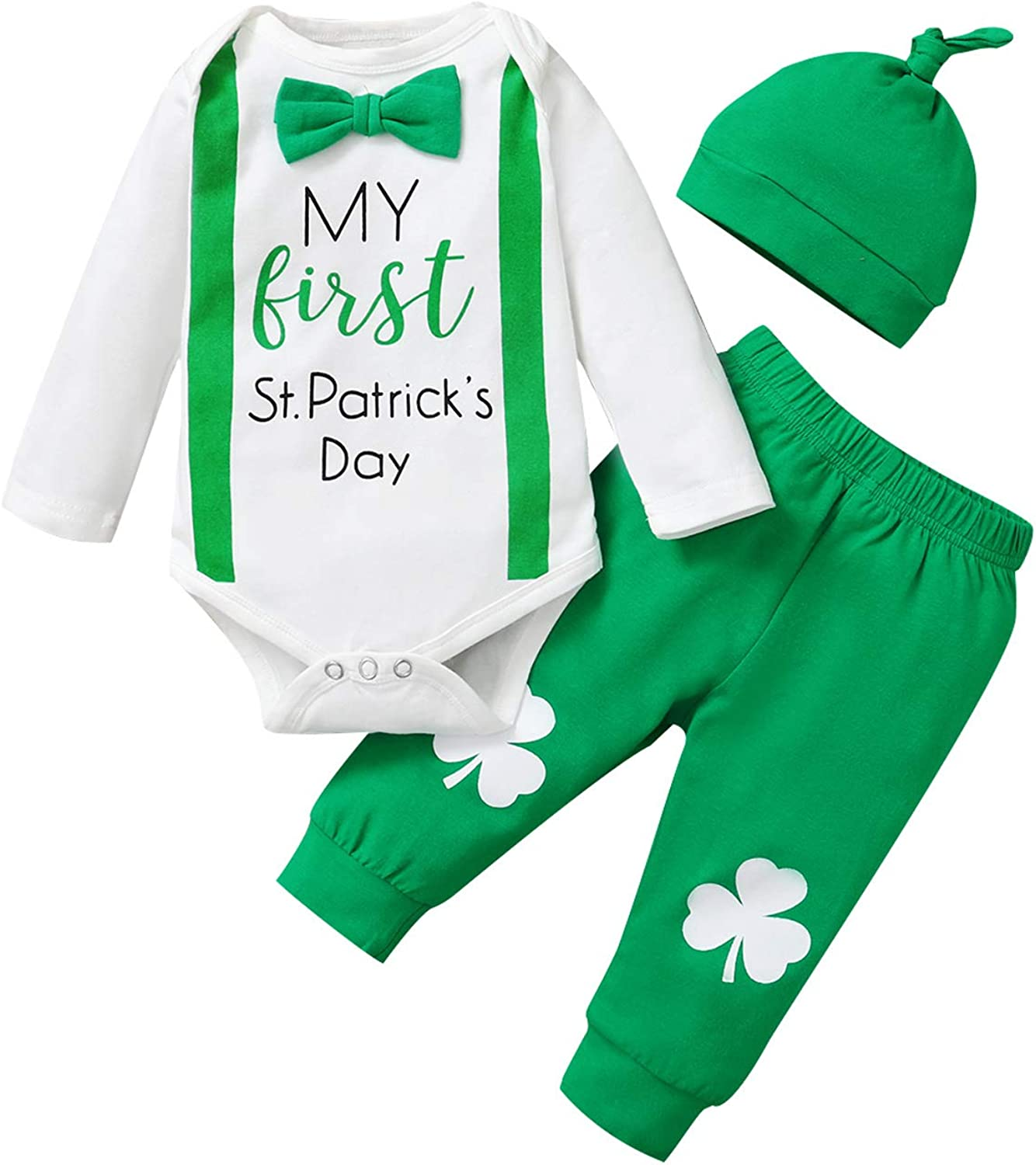 Detigee Baby Boy My 1st St. Patrick's Day Pant Clothing Set Infant Shamrock Outfit with Hat