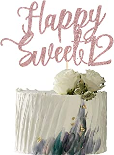 YUINYO Happy Sweet 12 Cake Topper -Cheers to 12 Year - Happy 12th Birthday Cake Topper- Sweet Twelve /12th Wedding Anniver...