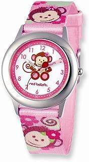 Red Balloon Pretty Girly Monkey Printed Band Time Teacher Watch