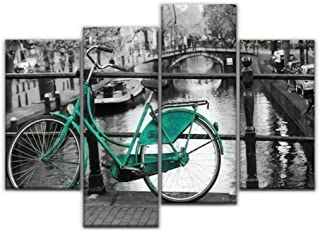 4 Panel A picture of a lonely blue green bike on the bridge over the channel Canvas Pictures Home Decor Gifts Canvas Wall ...